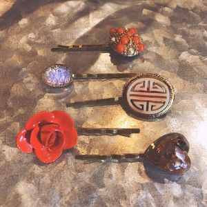 One-of-a-Kind Vintage Hair Pins - Eclectic Orange